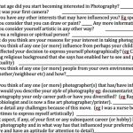 Dissertation Questionnaire for The Power in Photography